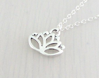 Lotus Flower Charm Necklace, Silver Flower Pendant, Gardeners Gift, Nature Plant Gift, Silver Plated, Stainless Steel, Sterling Silver Chain