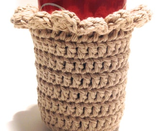 Jute Crocheted Can Cover With Ruffle