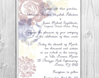 Floral Wedding Invitation and response card - Digital Download