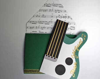 Custom order reserved Helena - greeting card at a customizable guitar shaped guitar