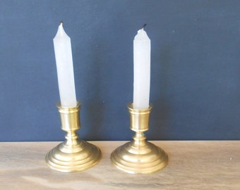 Solid Brass 2 Candlesticks,Brass candle holder,Vintage brass candlesticks,Made in Hong Kong