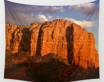 Courthouse Rock Wall Tapestry, Red Rocks Sedona Arizona, Landscape Wall Tapestry, Desert Mountain Vista Tapestry, Nature Photo,Travel,Clouds
