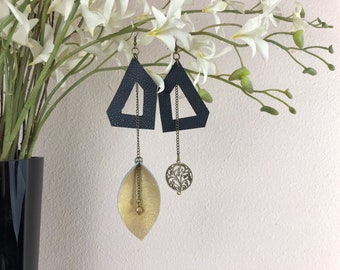Mismatched Asymmetric Earrings - Leather Earrings - Leaf Earrings - Black and Gold - Geometric Earrings - Painted Leather - Leaf Earrings