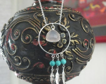 silver necklace with natural stones