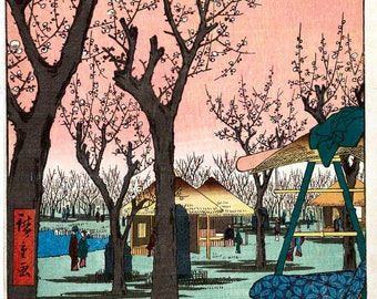 Plum Garden at Kamata, Japanese Repro Woodblock Picture Painting Print By Utagawa Hiroshige A4