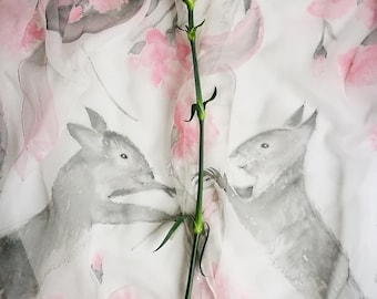 January  Silk Chiffon scarf Carnation and Snowdrops pale Grey Pink shawl Squirrel scarf light winter floral scarf Hand painted Bouquet wrap