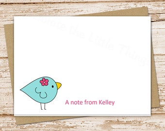 bird note cards for girls . notecards . folded personalized stationery stationary . pink flower . cute whimsical cards . set of 8