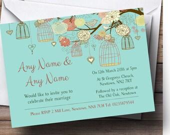 Vintage Shabby Chic Birdcage Turquoise Personalised Wedding Invitations