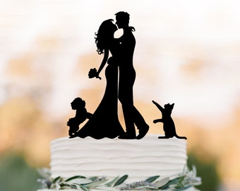 bride and groom Wedding Cake topper with dog, silhouette wedding cake topper. unique wedding cake topper with maltese dog and cat