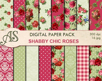 Digital Shabby Chic Pink Roses Paper Pack, 16 printable Digital Scrapbooking papers, retro roses Digital Collage, Instant Download, set 207