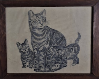 Pencil Drawing of Cats and Kittens Framed
