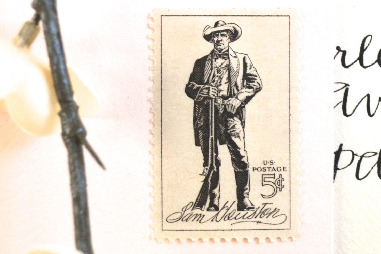 10 Texas Postage Stamps // Vintage Sam Houston Stamps for