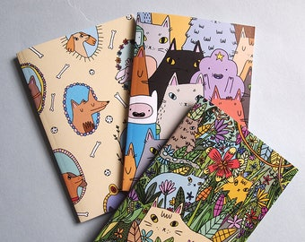 Set of 3 notebooks - Cat notebooks - Dog notebook - I like cats - cat gifts - cats - cat notebook - cat illustration - cat book - notebook