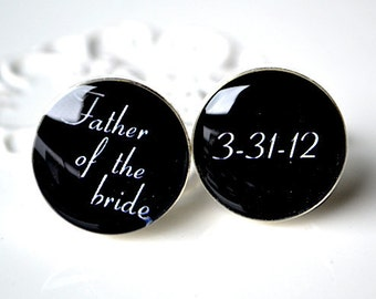Custom cufflinks - father of the bride and custom date cuff links - mens accessories handmade in the USA