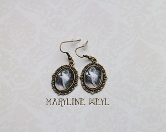 Black Wolf Cabochon earrings