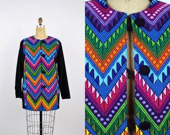 Vintage Guatemalan Jacket / Oversized Coat / Rainbow / Embroidered Jacket / Bohemian / Chevron Coat/ Ethnic Jacket / Size L