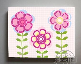 Baby Girl Floral Nursery Decor, Girls Wall Art - Canvas art - Flower Flurish Nursery - Floral Childrens Art - Pink and Blue Girl Room Decor