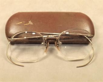 Bausch & Lomb Bifocals, Antique Gold Filled Glasses, Art Deco Eyewear, 1/10 12kt Gold Filled, Bifocal lenses, semi frameless