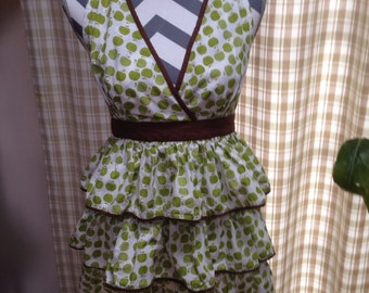 Green Apple Frilly Full Apron