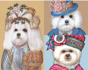 Bichon Dog Trio - 3 Art Prints - Lady Marble, General Sheltie and Sheltie Lady - Funny Dog Portraits by Maria Pishvanova