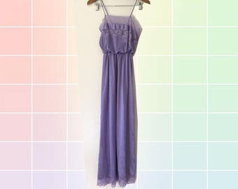 80s Lilac Romantic Lace Trim Blouson Bodic Elastic Waist Maxi Slip Dress Nightgown size Small