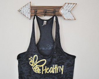 """Black and Gold- Racer Back Burn-Out Tank top (Next Level) with """"Bee Healthy"""" logo"""