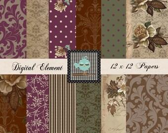Commercial Digital Scrapbook Paper, Digital Paper, Vintage Scrapbook Paper, Shabby Rose Paper, Printable Scrapbook Digital Paper. No. V.7.07