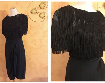 Vintage 1940s Black Crepe Fringes Sarong Dress - Size S