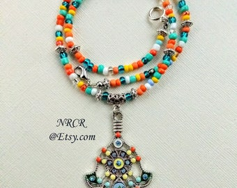 Hamsa Pendant  Colorful  Ornate Necklace  Enamel Ships same day or next available. 18 1/2inches