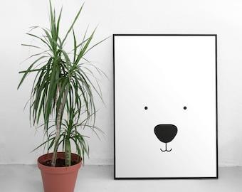 Bear print - Bear nursery print - Bear nursery decor - Bear nursery art - Minimalist nursery art - Scandi nursery - Scandinavian nursery
