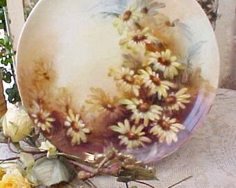 Beautiful Hand Painted Antique Porcelain Plate with Daisies-Artist Signed Haviland