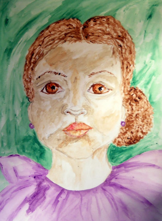 "Watercolor Painting ""SWEET PETUNIA"" Portrait of a young girl with amber eyes, 15 x 11"" by Indiana Folk Artist Stacey Torres 2015"