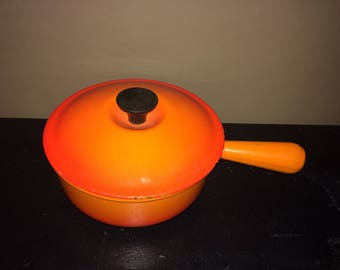 Le Creuset Vintage 2 3/4 Qt Sauce Pan Flame Orange Enamelled Cast Iron 1960's