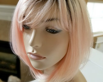 Peachy Pink dark roots wig, Synthetic Peachy wig, Fairy Hair Wig, Photo Shoot wig, Photo Prop wig, Fantasy Hair, Fairy hair