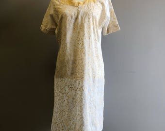 Vintage Embroidered Soft Yellow and Cream Tunic
