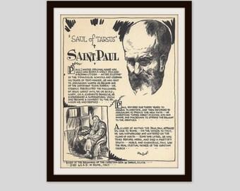 Paul the Apostle Saint Paul Saul of Tarsus Vintage Art Print Classroom Art Teacher Gift Gospel Jewish Christian History Religious Print