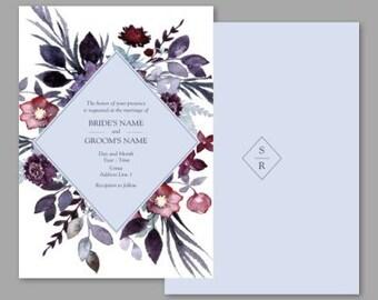 Wedding Invitation, Rosalie Wedding Invite - Flat design