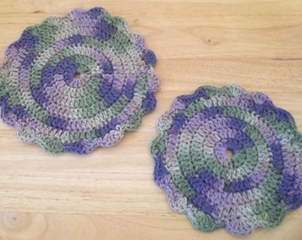 Coaster - Set of Two Crochet Coaster - Color Mix of Purple, Green and Grey