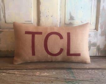 Pillow Cover |  Airport code pillow | Burlap Pillow | TCL | Tuscaloosa pillow | Alabama pillow | Hostess Gift | Gift for him | Roll Tide