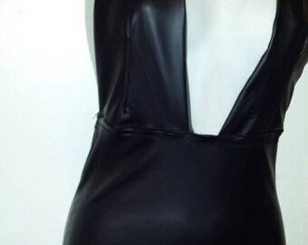 Faux leather halter dress