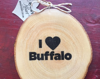 I Love Buffalo Wood Slice Ornament
