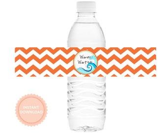 INSTANT DOWNLOAD, Boys SURFER -Printable Water Bottle Wraps (Chevron Stripes, Drink Wraps)