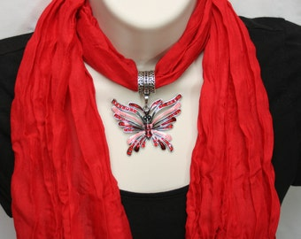 Soft Jeweled Scarf red with metal jeweled pink and red butterfly pendant