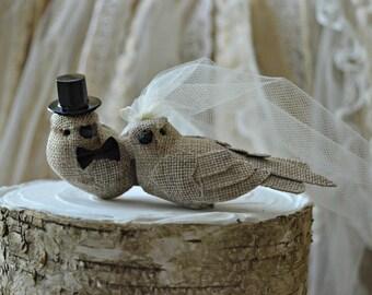 Burlap birds wedding cake topper-burlap birds-rustic wedding-burlap- wedding cake topper-rustic burlap birds-western wedding-country western