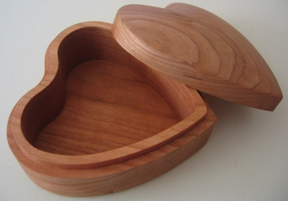 Solid Cherry Heart Shaped Jewelry Box
