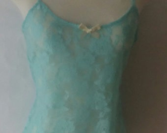 Mint Green Floral Stretch Lace top- nightwear