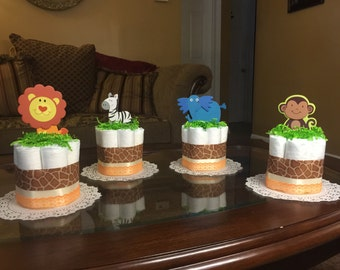 Mini Safari diaper cakes -four Safari themed diaper cakes