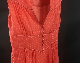 Orange Silk Burnout Dress