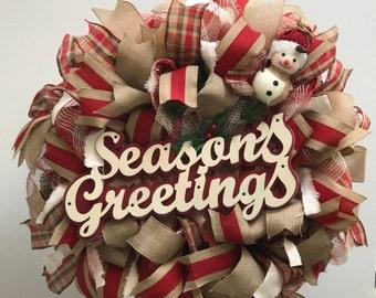 Seasons greetings wreath, country Christmas wreath, burlap Christmas wreath, handmade wreath, red plaid burlap Christmas wreath,