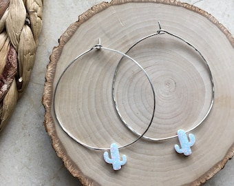 Big Sterling Silver Hoops. White Cactus Opal Beads. Sparkly. OOAK